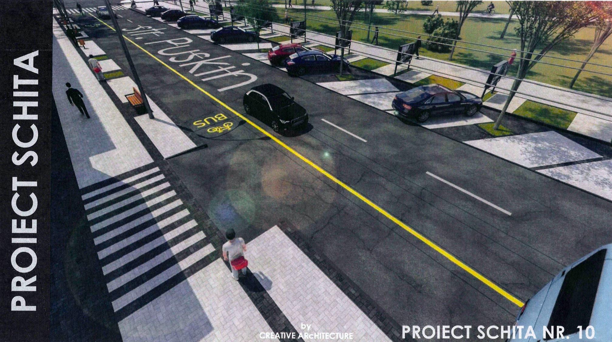 Schiță proiect reabilitare trotuare str. Pușkin. Sursă: autoblog.md