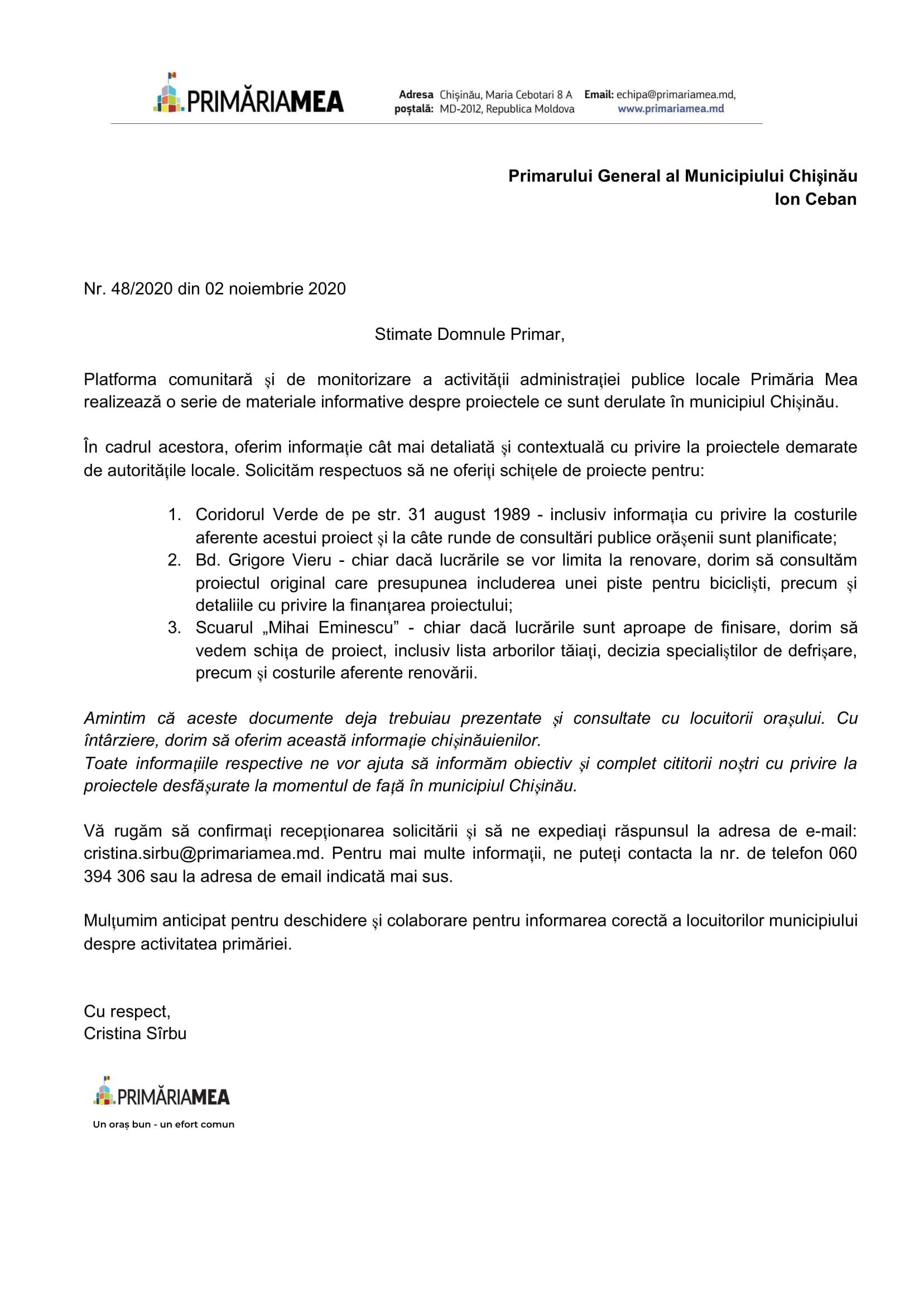 Solicitare de informație adresată lui Ion Ceban. Sursă: Primăria Mea