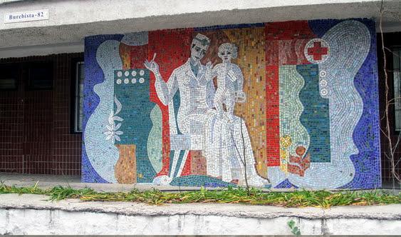 Mozaic la Centrul Mamei și a Copilului. Sursa: https://locals.md/2012/kishinyovskaya-mozaika-graffiti-mssr/