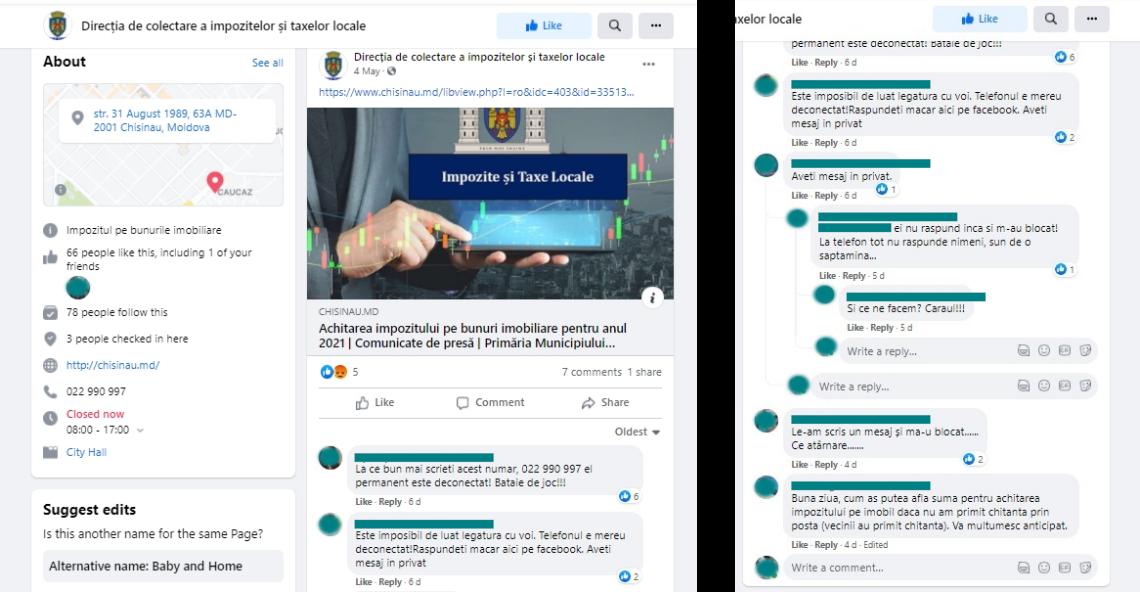 Captură de ecran: Comentarii privind contactarea Direcției de colectare a impozitelor și taxelor locale pe 06/06/2020. Sursă: Primăria Mea